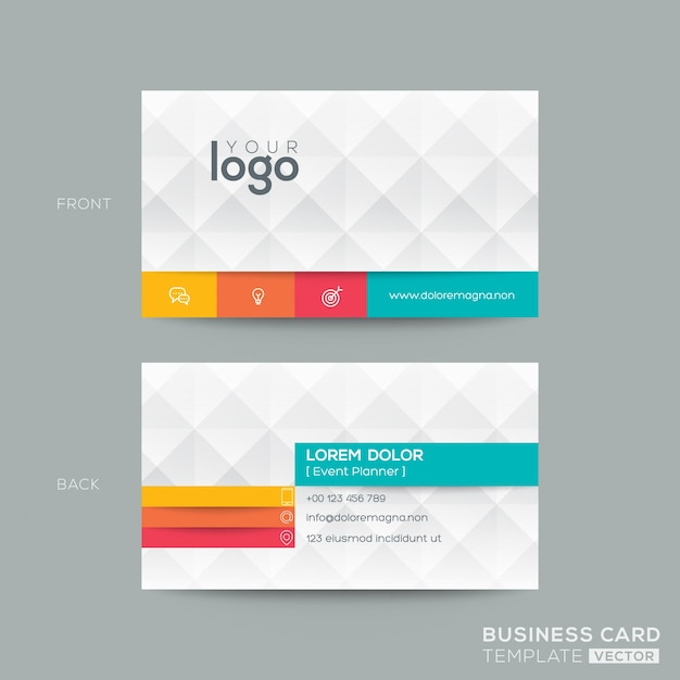 polygonal business card with 3d effect free vector