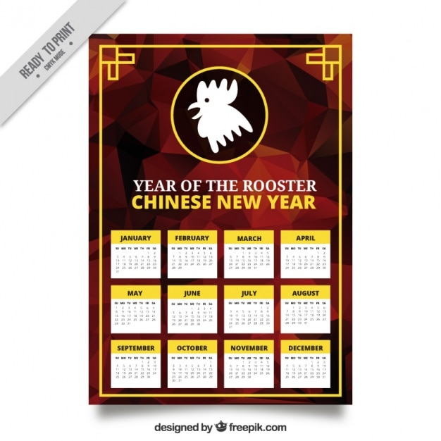 Polygonal calendar for year of the rooster Free Vector