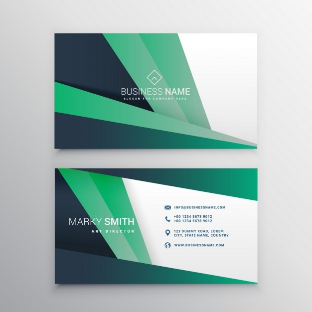 Polygonal card with green tones Free Vector