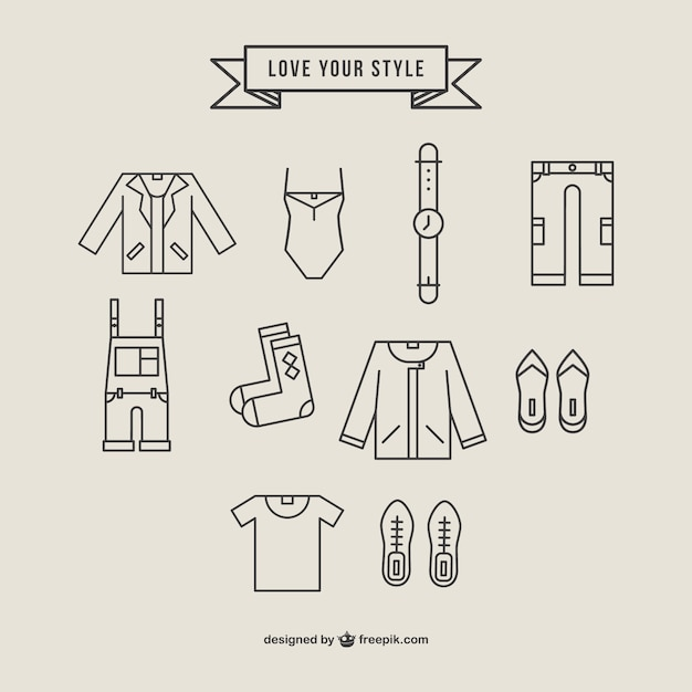 Polygonal clothing icons set Free Vector