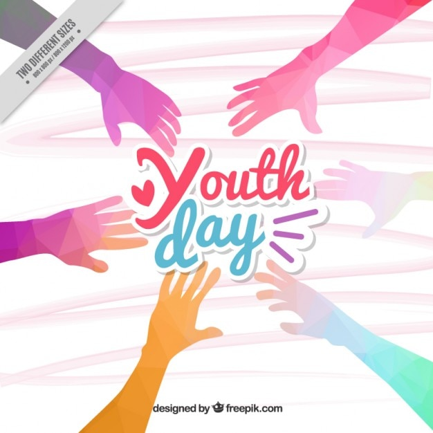 polygonal colored hands youth day background vector free