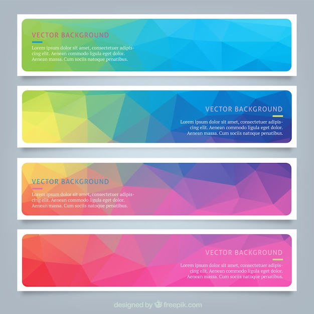 Polygonal colourful web banners Vector | Free Download