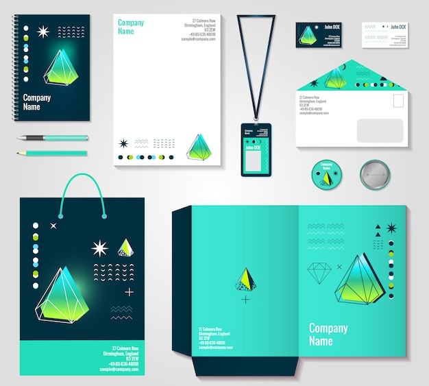 Polygonal crystals corporate identity items design Free Vector
