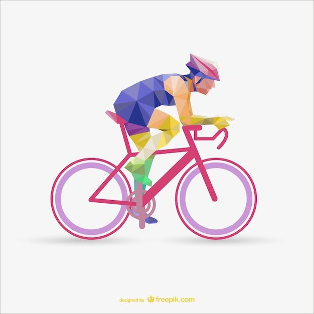 Polygonal cyclist Free Vector