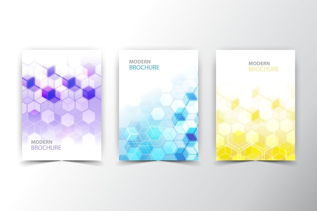 Polygonal flyer collection Free Vector