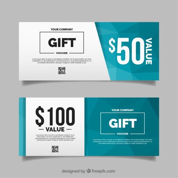 Polygonal Gift Voucher In Flat Design  Design Gift Vouchers Free