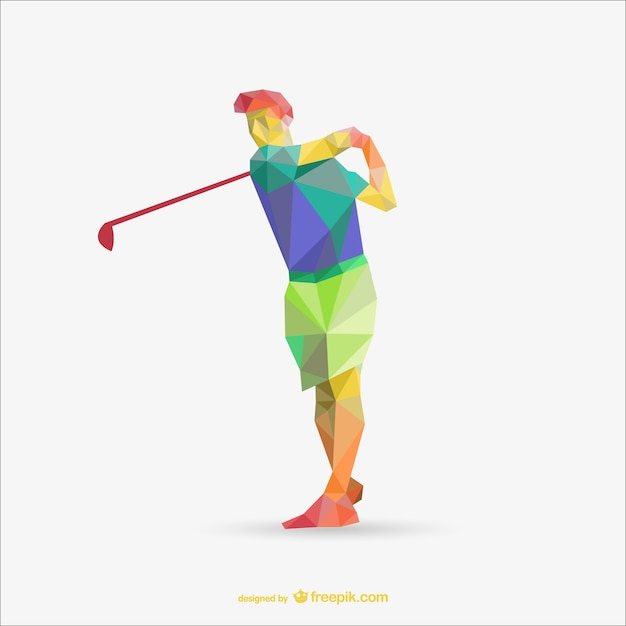 Polygonal golf player Free Vector
