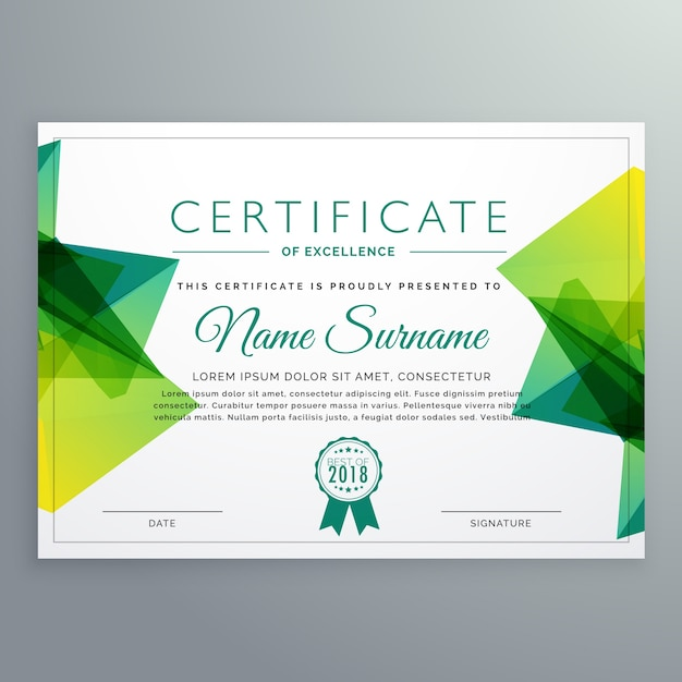 polygonal green achievement certificate template vector