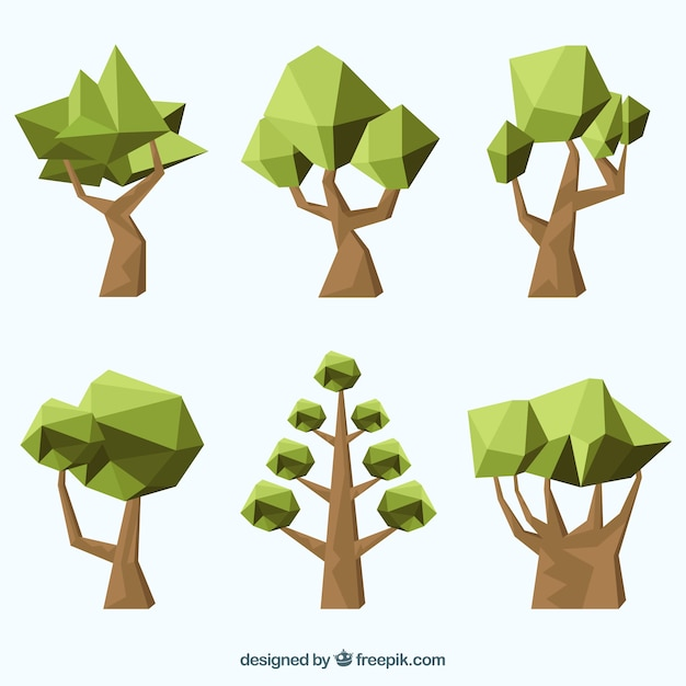 Polygonal Green Trees Free Vector