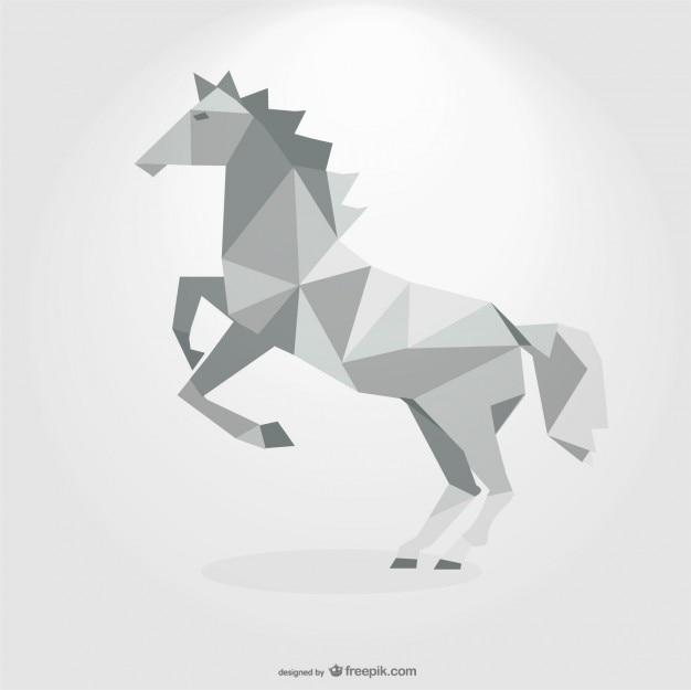 Polygonal Grey Horse Geometric Triangle Design Free Vector