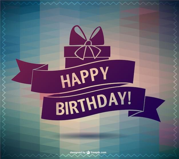 Polygonal happy birthday card Free Vector