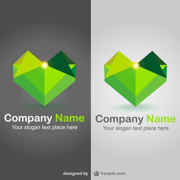 Polygonal heart shaped logos Free Vector