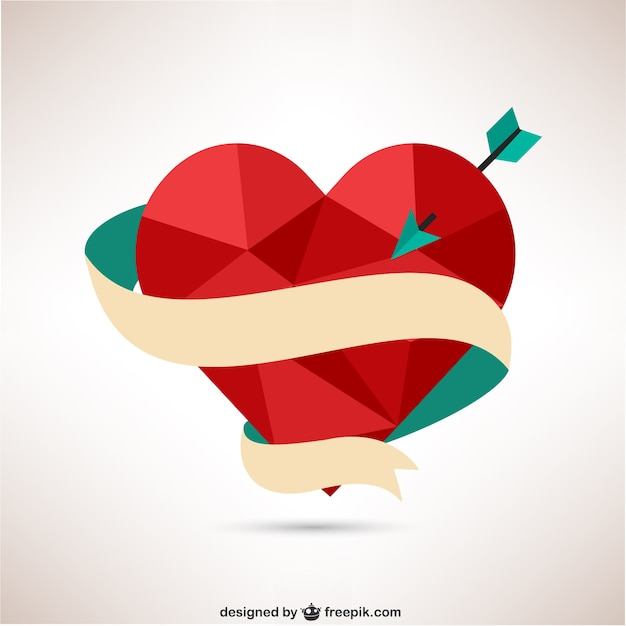 Polygonal heart with arrow and ribbon  Free Vector