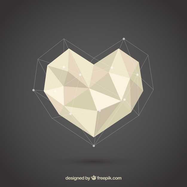 Polygonal heart Free Vector