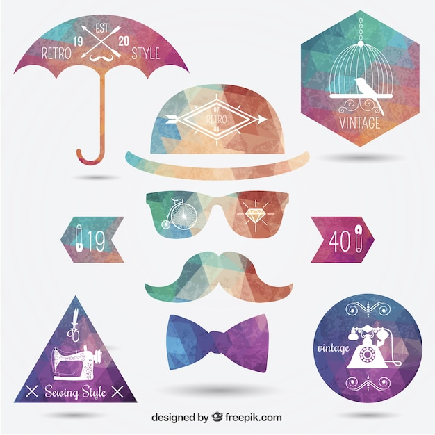 Polygonal hipster insignias Free Vector