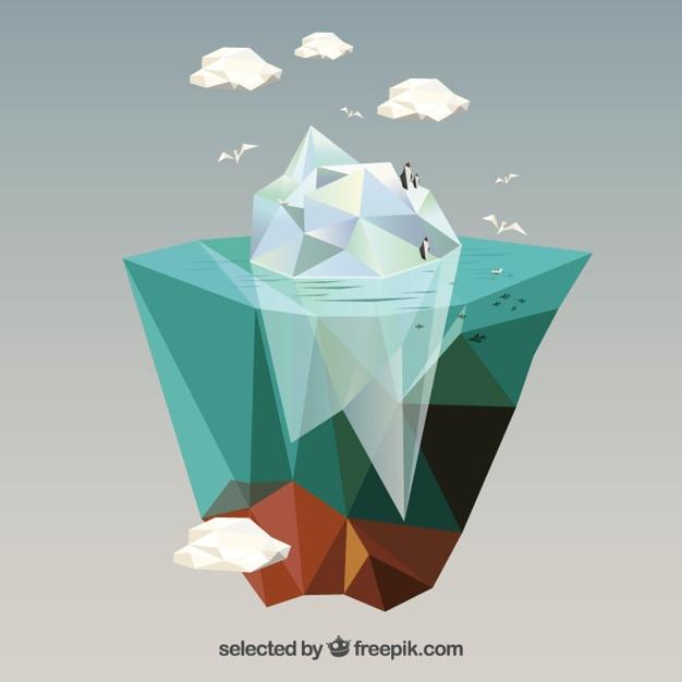 Polygonal iceberg Free Vector