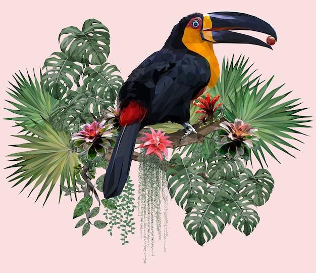 다각형 그림 큰 부리 새 조류와 아마존 포레스트 식물. 프리미엄 벡터