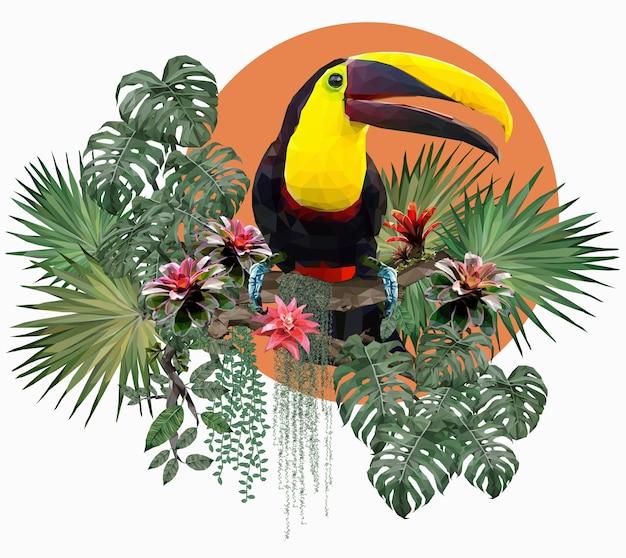 多角形のイラストオオハシの鳥とアマゾンの森の植物。 Premiumベクター