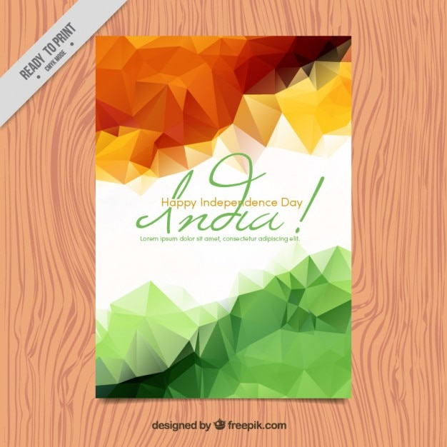 Polygonal India Independence Day Brochure Vector Free Download