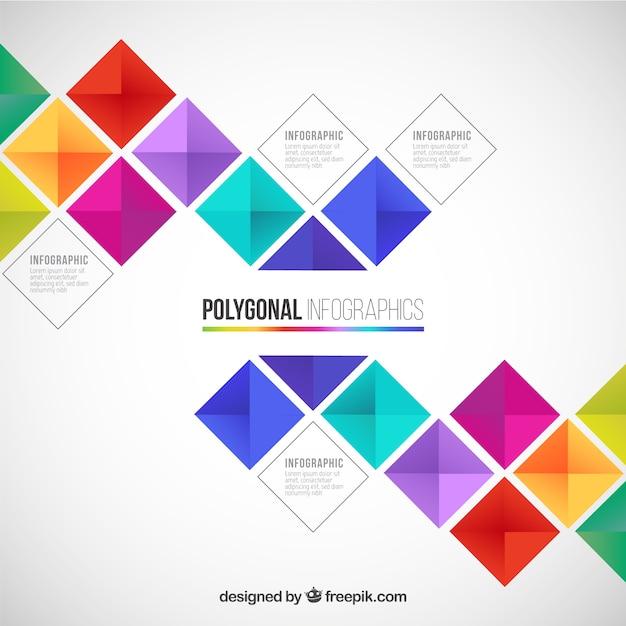 Infografica poligonale in stile colorato Vettore gratuito
