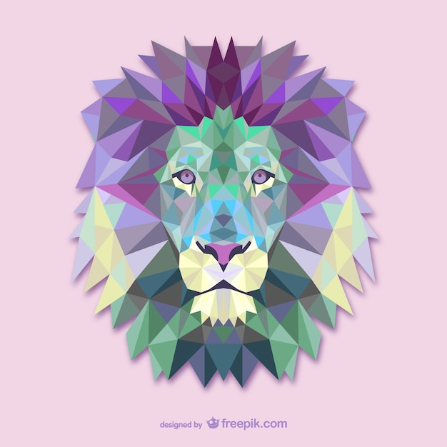 Polygonal lion head Free Vector