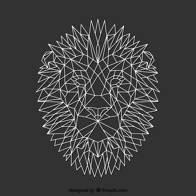 Polygonal lion Premium Vector