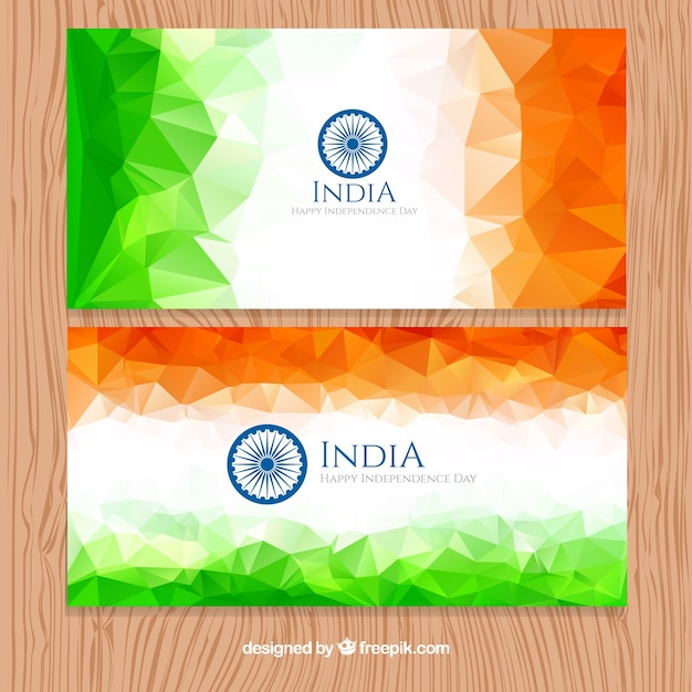 Polygonal modern india banners Free Vector