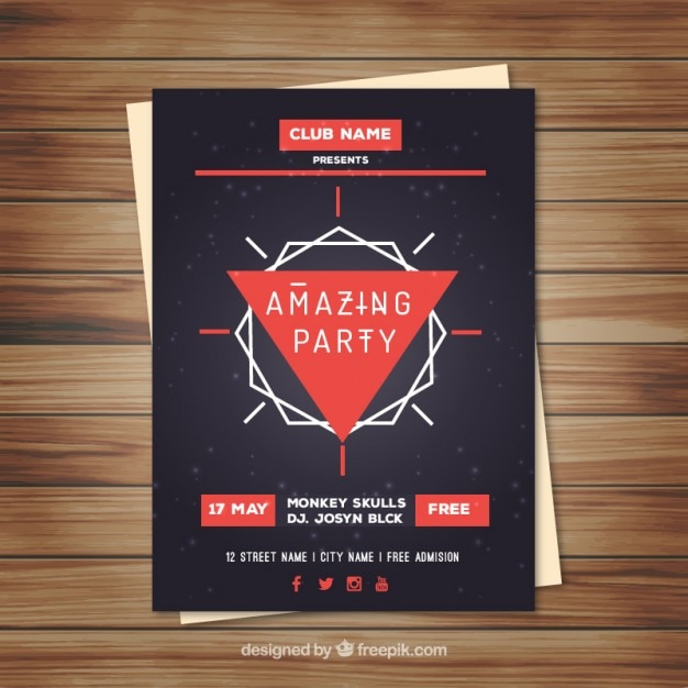 Polygonal poster for music event Premium Vector