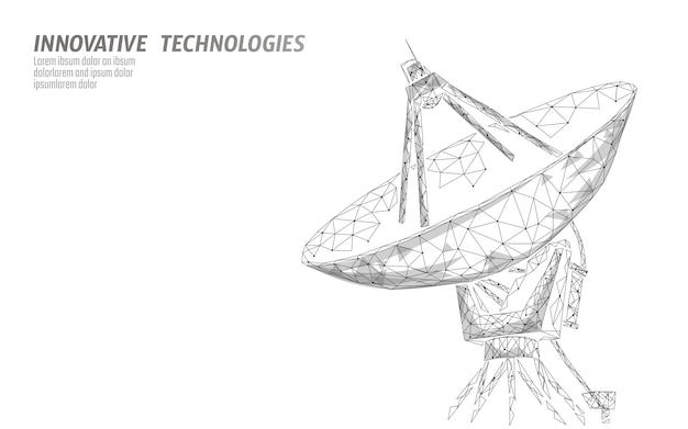 Polygonal radar antenna space defence abstract technology concept. Premium Vector