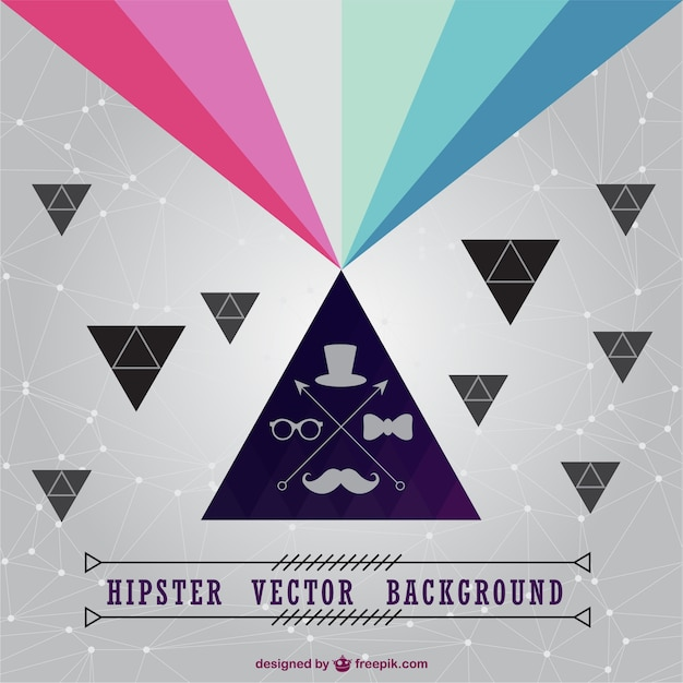 Polygonal rainbow hipster background Free Vector