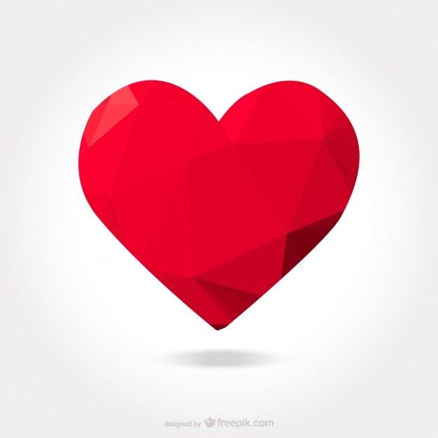 polygonal red heart vector free download