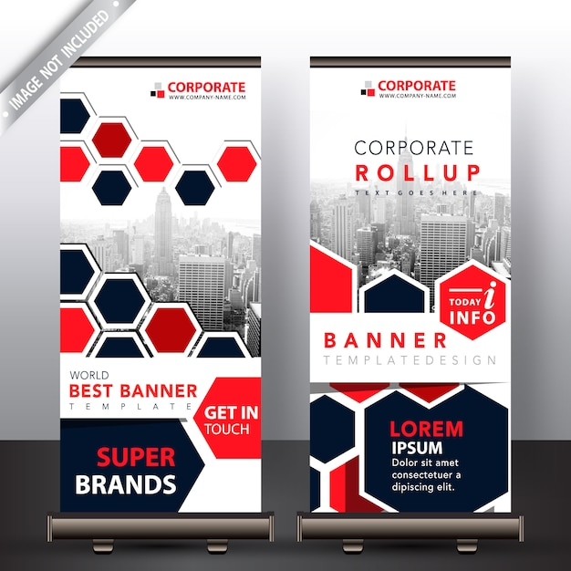 Polygonal roll up design Free Vector