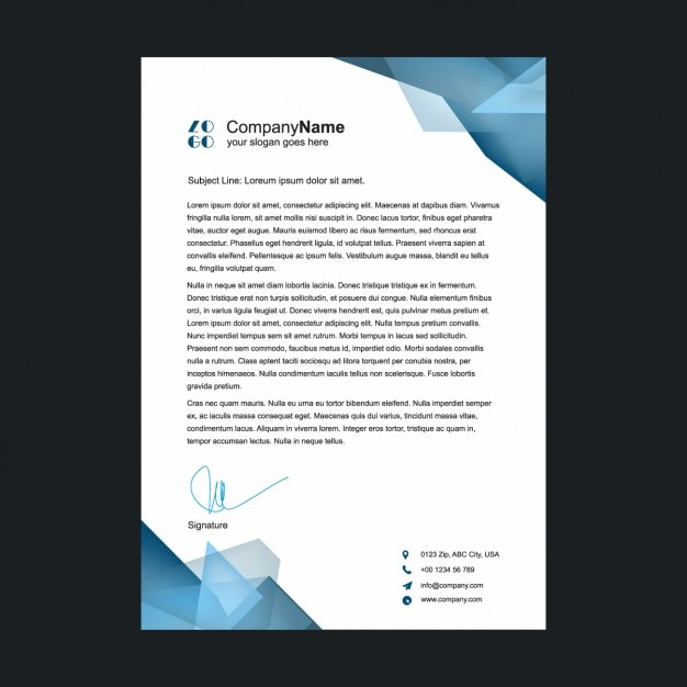 polygonal shapes letterhead design vector