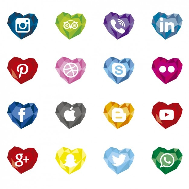 Polygonal social media icons with heart shape Free Vector