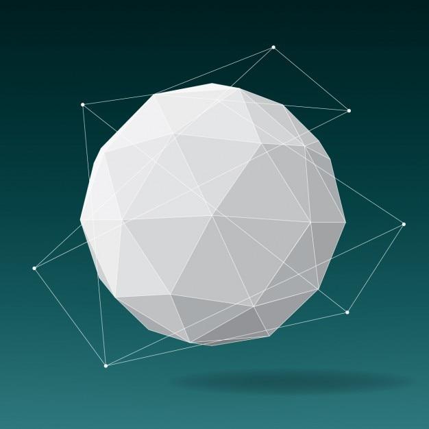 Polygonal sphere design Free Vector
