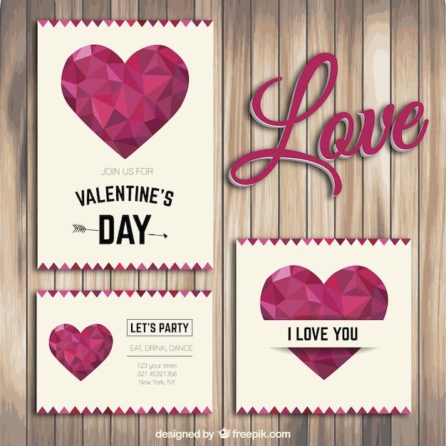 Polygonal Valentine's flyers Free Vector