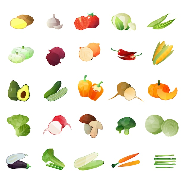 Polygonal vegetables icon set Free Vector