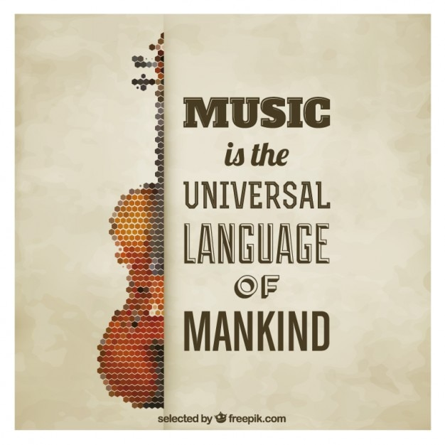 Polygonal Violin Quote Poster Free Vector