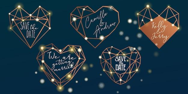 Polygonal wedding stickers set Premium Vector