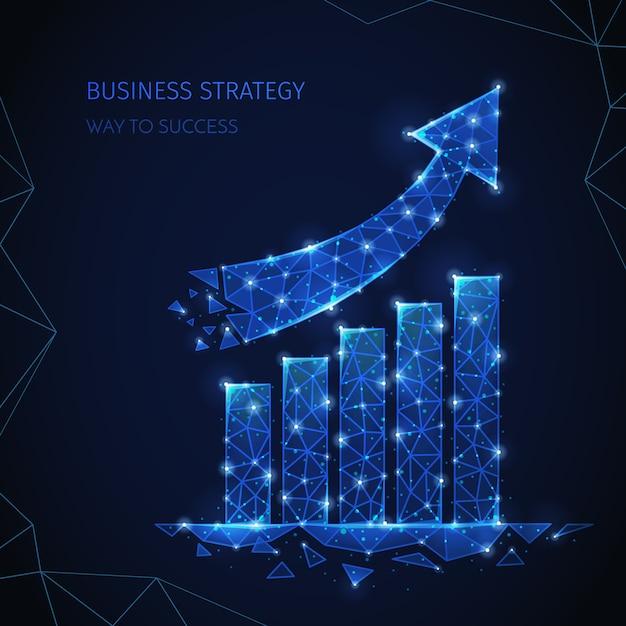 Композиция бизнес-стратегии с полигональным каркасом с редактируемым текстом и изображениями столбцов и частиц, сияющих стрелками Бесплатные векторы