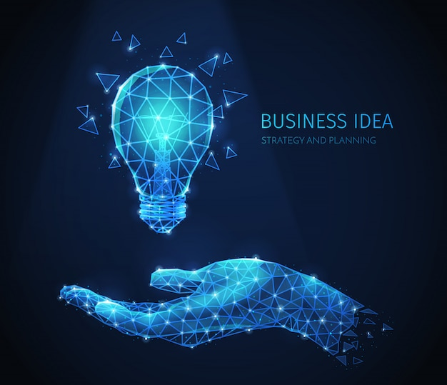 Composizione di strategia aziendale poligonale wireframe con immagini scintillanti della mano umana e lampada a incandescenza con testo Vettore gratuito