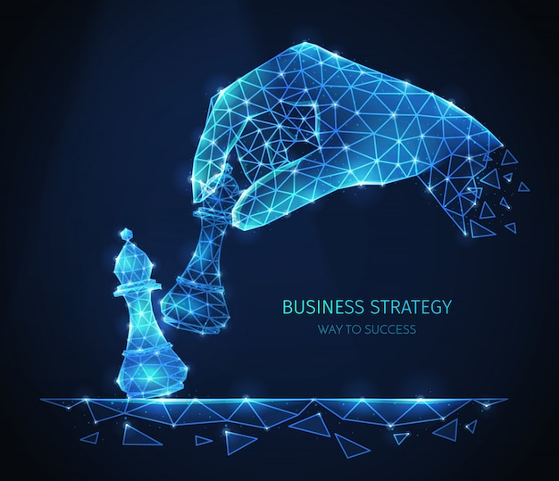 Polygonal wireframe business strategy composition with glittering images of human hand with chess pieces with text Free Vector