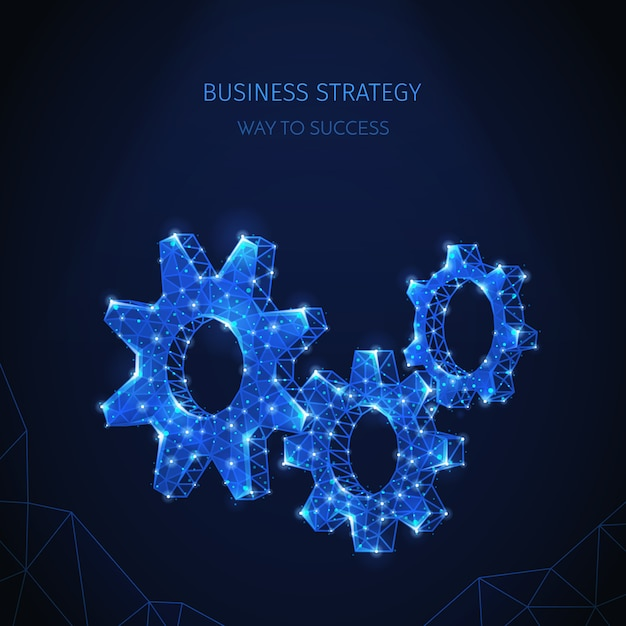 輝く粒子とテキストのある歯車アイコンのきらめく画像を使用した多角形のワイヤーフレームビジネス戦略構成 無料ベクター