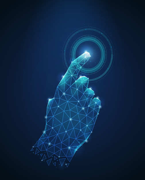 Polygonal wireframe image of human hand touch to electronic display abstract vector illustration Free Vector