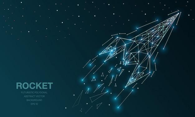 Polygonal wireframe mesh futuristic with rocket Premium Vector