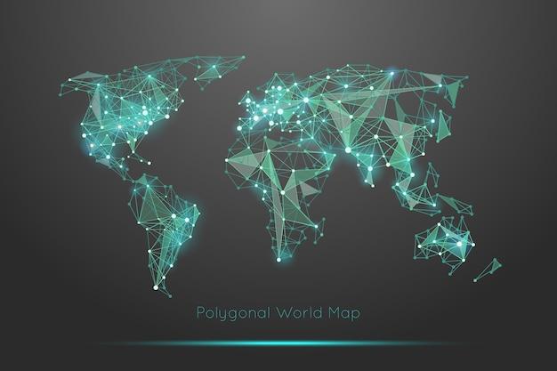 多角形の世界地図。グローバルな地理と接続、大陸と惑星 無料ベクター