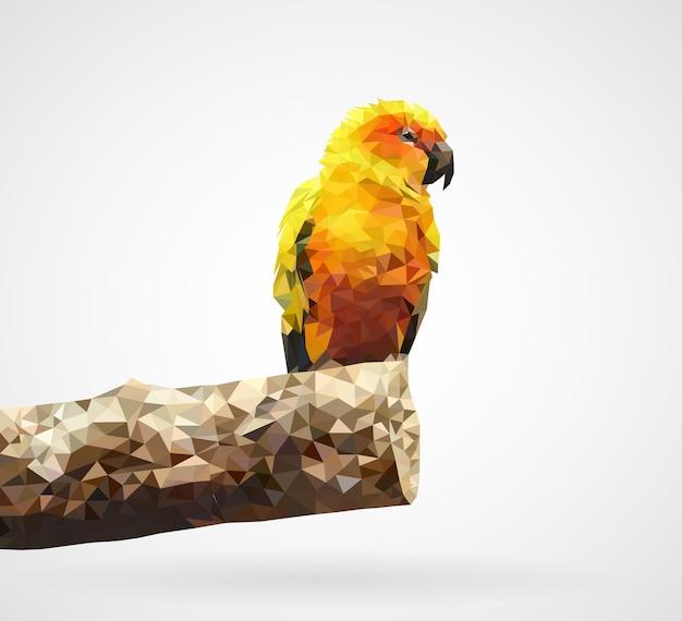 Многоугольный желтый попугай Premium векторы