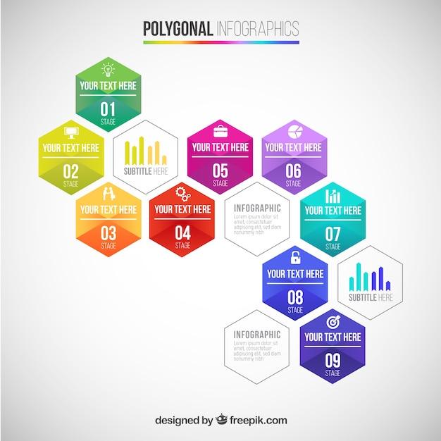 Polygonal инфографики Бесплатные векторы