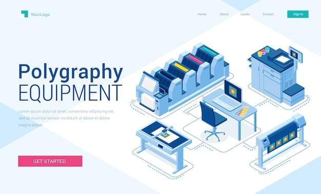 Polygraphy equipment banner. typography business, printing service. Free Vector