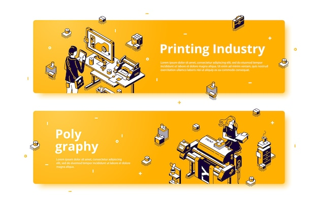 Polygraphy, printing house industry isometric web banner. Free Vector
